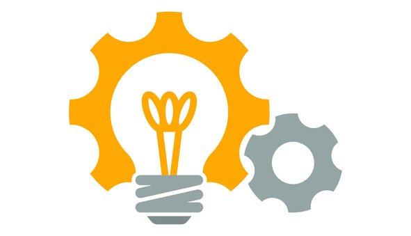 light bulb and gear